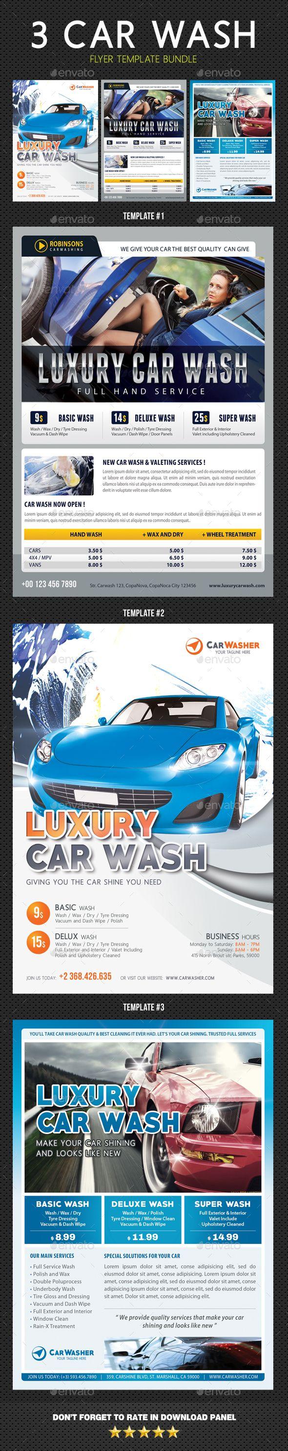 3 in 1 car wash flyers bundle 02 fonts logos icons pinterest