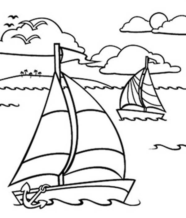 Sailing Boat, Sailing Boat in the Ocean Coloring Pages