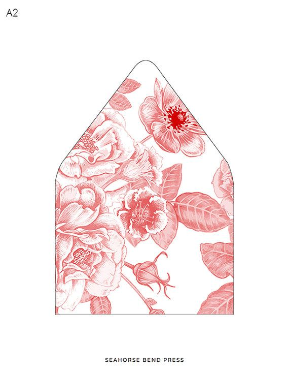 Printable Custom Envelope Liner Template, Red and White Floral ...