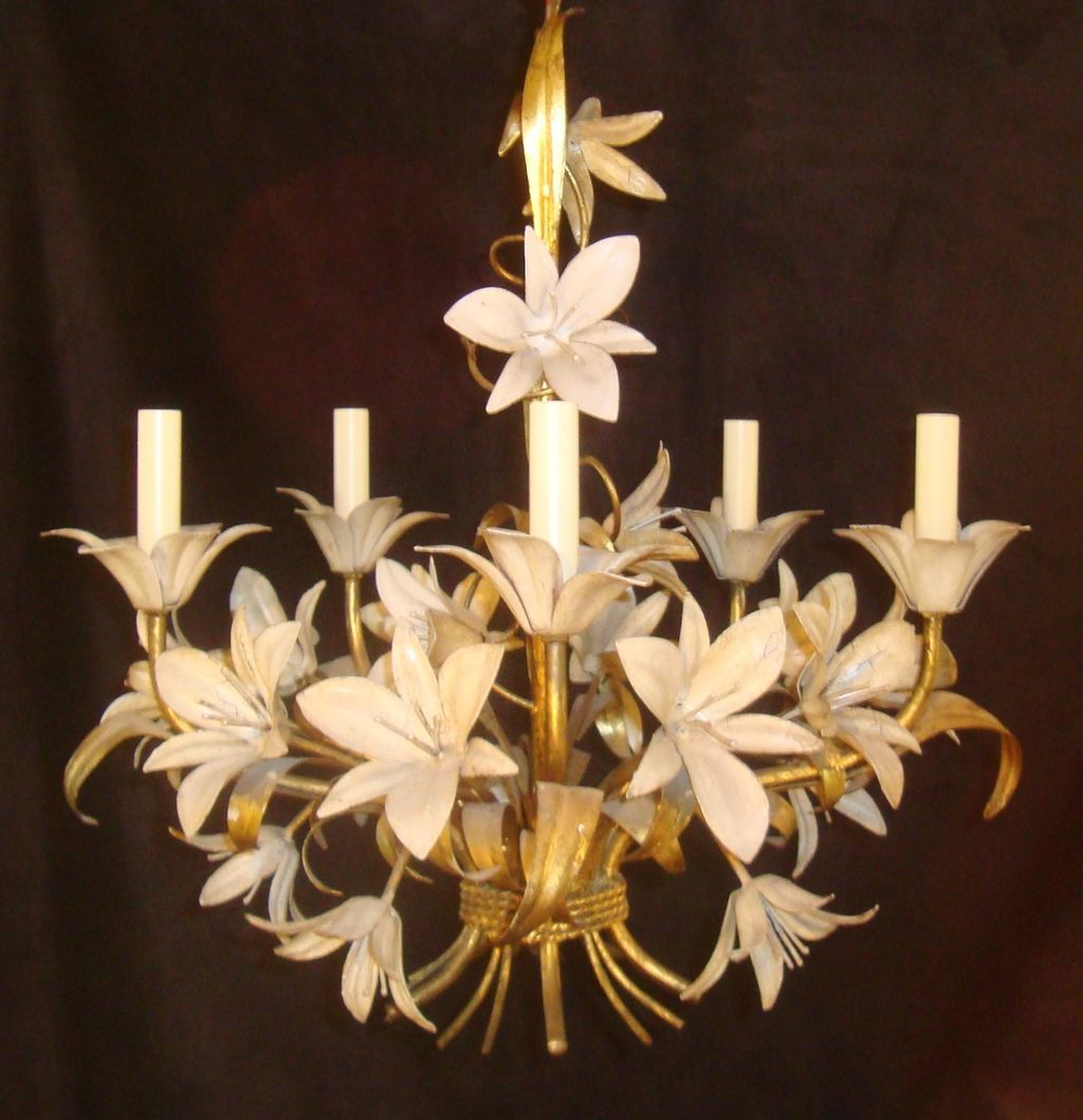 Vintage italian lily tole chandelier illuminate pinterest vintage italian lily tole chandelier arubaitofo Image collections