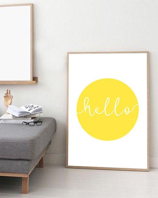 Giclee Art print, Poster, Minimalist print, Yellow Circle Sun, Kids ...