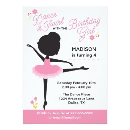 Cute Ballerina Birthday Girl Invitations Invitation ideas - email invitations
