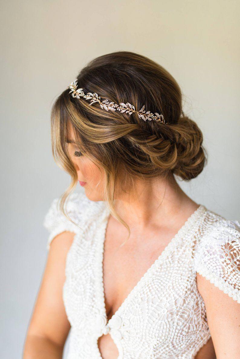 Bridal Wreath Bridal Hair Vine Bridal Headband Wedding Headpiece Crystal Headband Leaf Headband Branch Hair Vine Bridal Crown Tiara #187