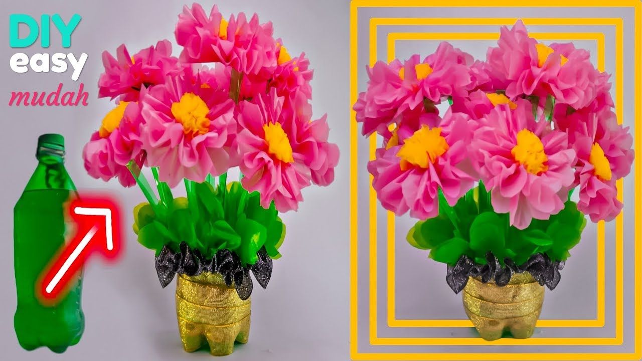 Cara Mudah Membuat Bunga Hias Dari Botol Plastik Bekas Dan Kresek