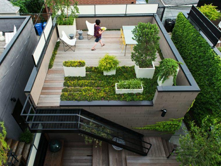 Jardin et terrasse en ville  75 idées pour jardin sur le toit - toiture terrasse bois accessible