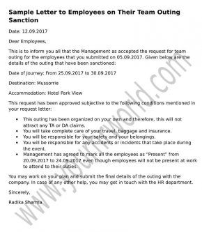Letter To Employees On Their Team Outing Sanction  Formal