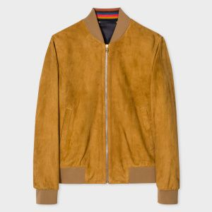 567d887b6 Paul Smith Men's Slim-Fit Tan Suede Bomber Jacket With 'Artist ...