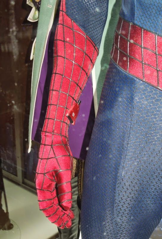 Hollywood Movie Costumes and Props: Spider-man and Gwen Stacy costumes from The Amazing Spider-man 2 on display... Original film costumes and props on display
