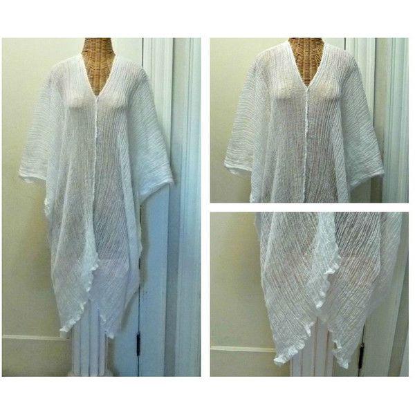 White Caftan Cover Up Swimwear Kimono Kaftan Goddess Beach Spa One... ($39) via Polyvore featuring intimates, robes, black, dresses, women's clothing, cotton kimono robe, kimono dressing gown, white robe, long kimono robe and cotton robe