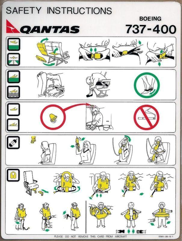Qantas Australia  Boeing   Safety Card  Emergency