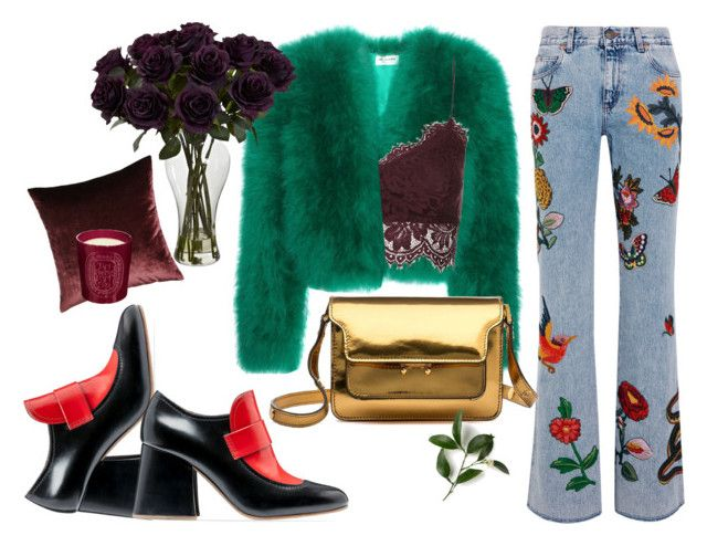 """""""Transition Into Autumn."""" by capstick13 ❤ liked on Polyvore featuring Gucci, Yves Saint Laurent, Marni, Topshop, Eastern Accents and Diptyque"""