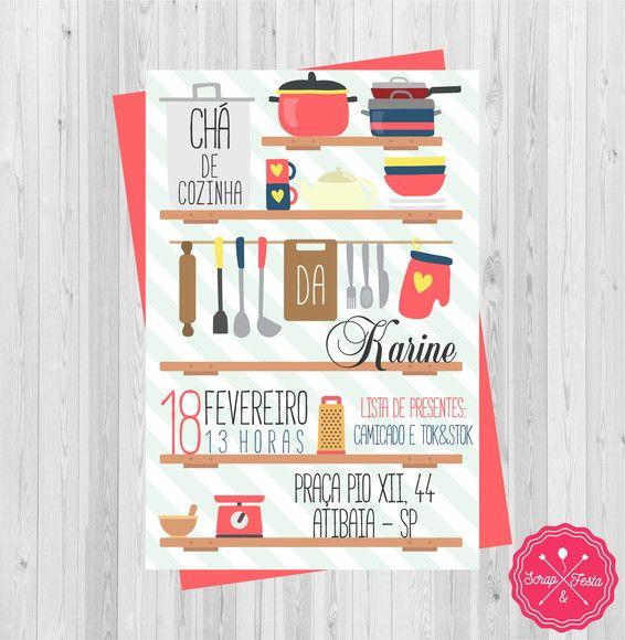 Convite Chá de Panela, Cozinha, Casa Nova Convite chá de