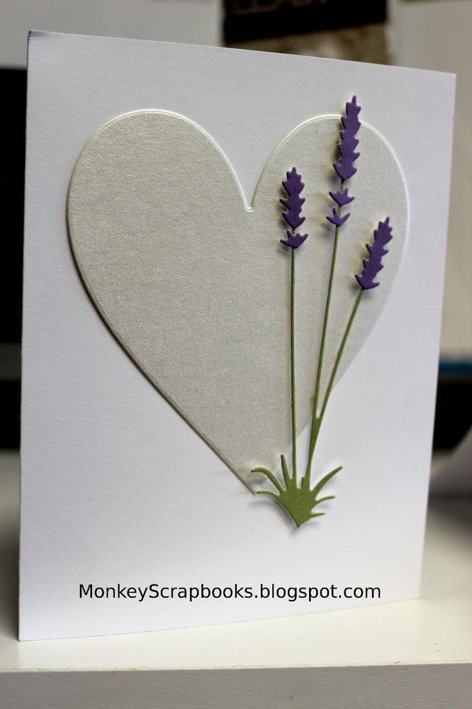 Cas Heart And Memory Box 99108 Long Stem Lavender Flower Cards Valentines Cards Floral Cards