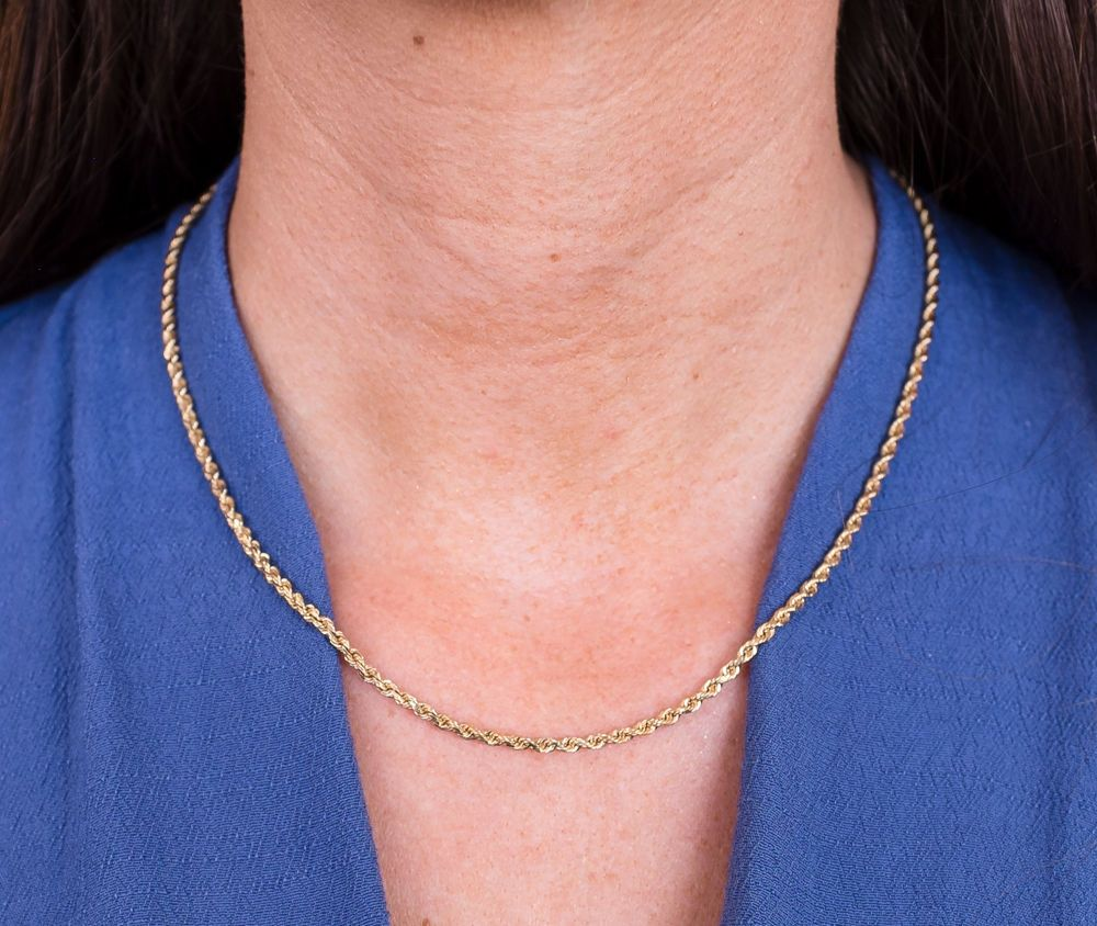 14kt Yellow Gold Solid Rope Chain 2.5 mm Width 8.0 Inch Long (3.8 ...