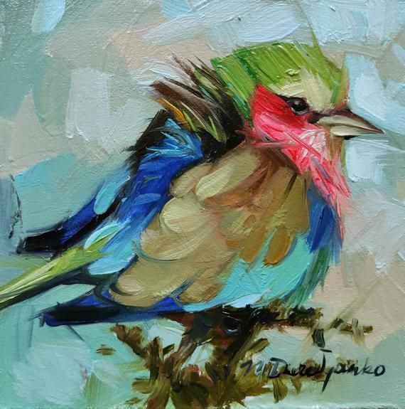 Original Bird painting 4x4, Colorful small bird art picture in blue green gold frame, Oil painting b #smallbirds