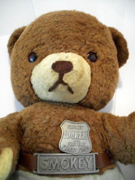 Vintage Smokey The Bear Stuffed Animal 1960s By Lionfishvintage Bear Stuffed Animal Smokey The Bears Bear
