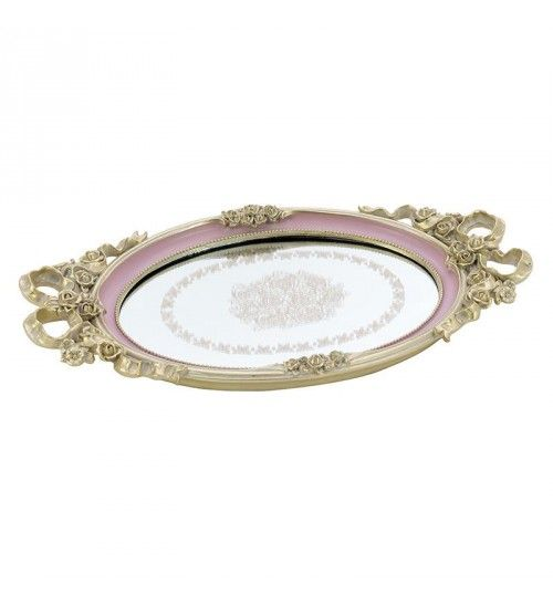 POLYRESIN MIRRORED TRAY IN PINK COLOR 39X22X3