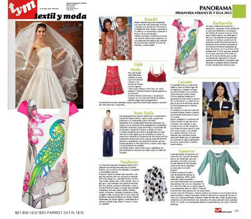 Vestido Parrot de Barbarella en la revista Textil y moda (agosto 2012)  http://www.barbarella.es/tiendabarbarella/