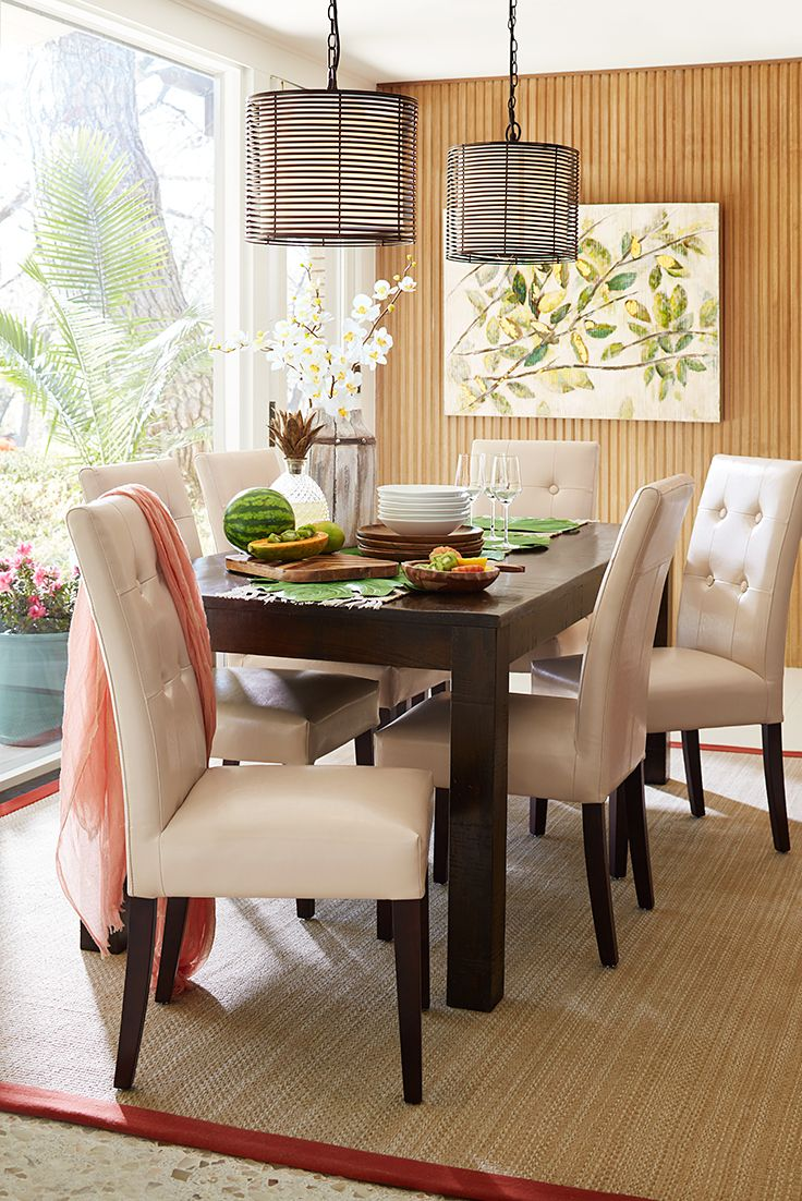 Pier 1 S Parsons Dining Table Is A Great Place To Enjoy Some Fresh Fruit Maybe Because It Handcrafted Of Mango Wood And Our Mason Chairs Are