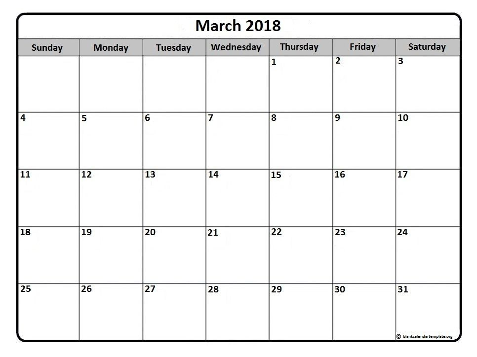 March  Monthly Calendar Printable  Printable Calendars
