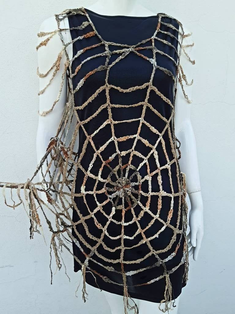 Ladies Spider Web Fishnet Cape Witch Halloween Vampire Fancy Dress Costume
