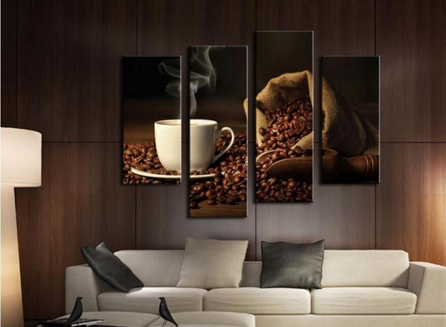 Modern Interieur Schilderij : Stuks bruin een kop koffie en koffieboon muur art schilderij de