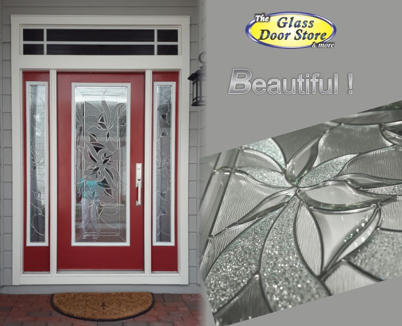 Single Red Front Door With Double Sidelights Modern Glass