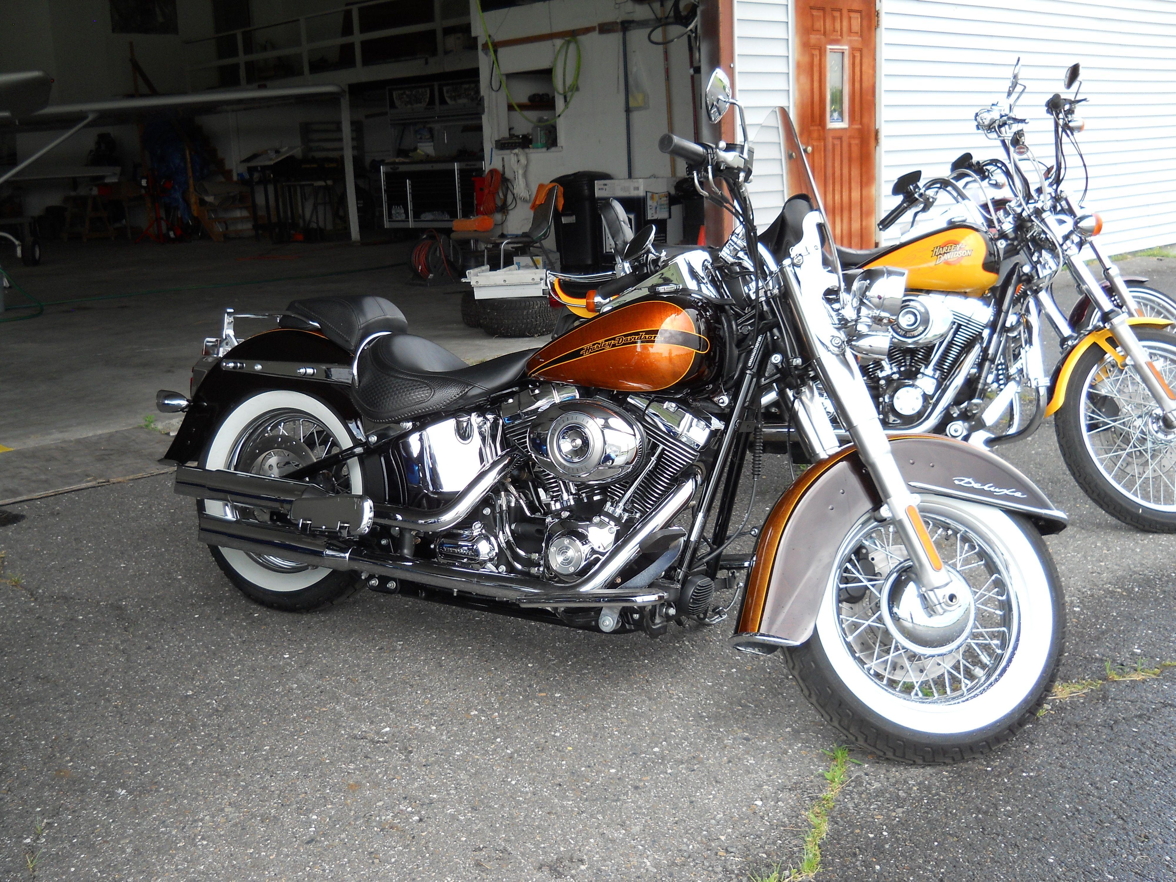 Cool Looking Orange,Yellow & Black Harley Davidson Motorcycle https