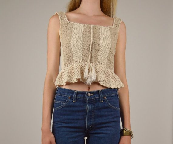 Crochet Boho Crop Top by StellarVintique on Etsy