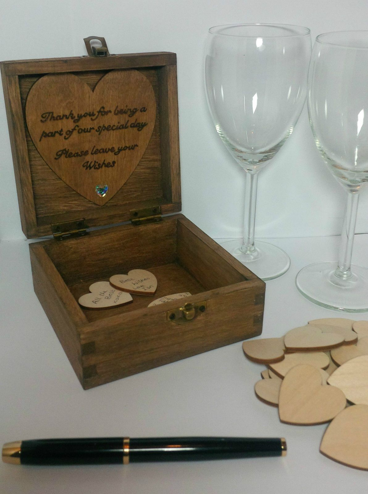Personalised Wooden Wedding Guest Book Box  Wood Hearts cm Mr