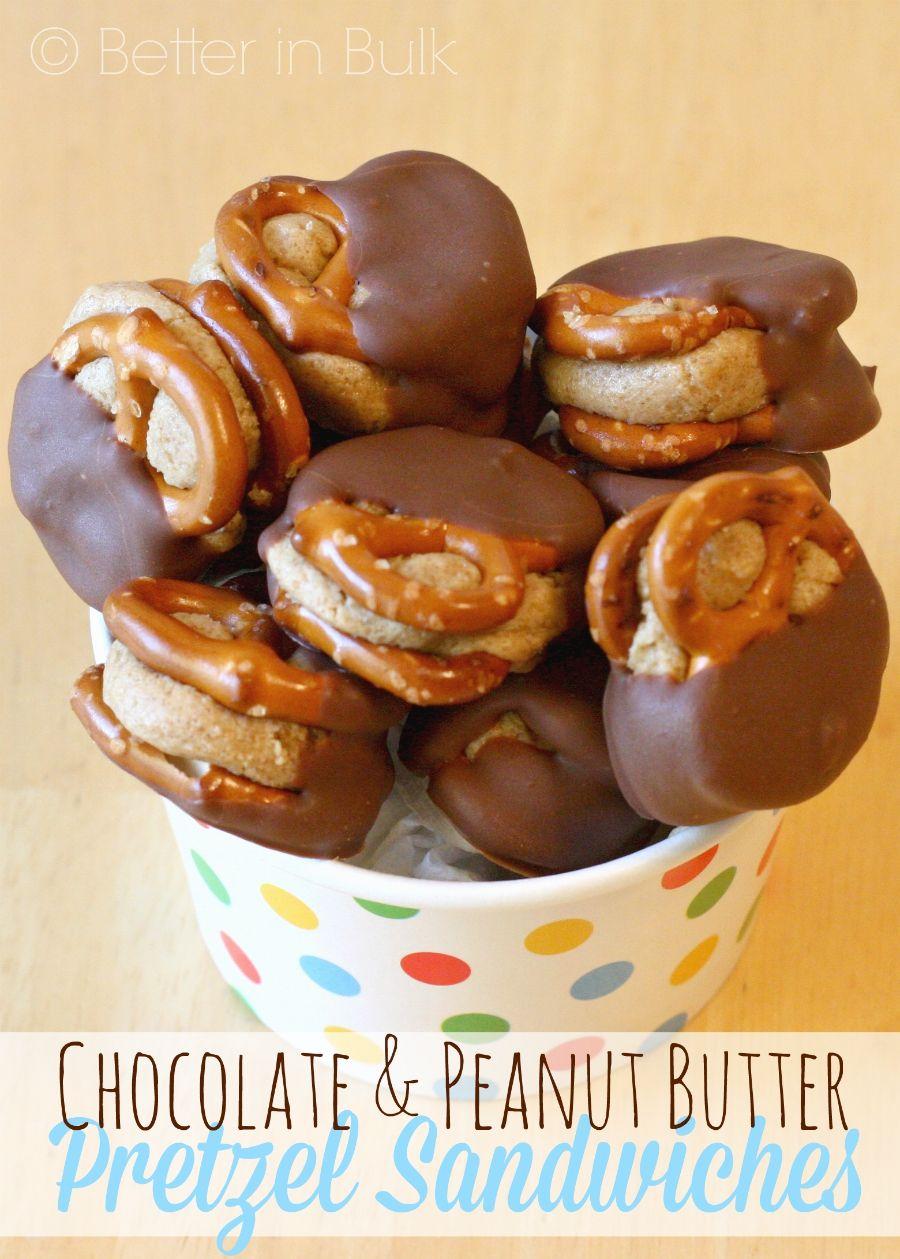 Chocolate & Peanut Butter Pretzel Sandwiches #peanutbuttersquares