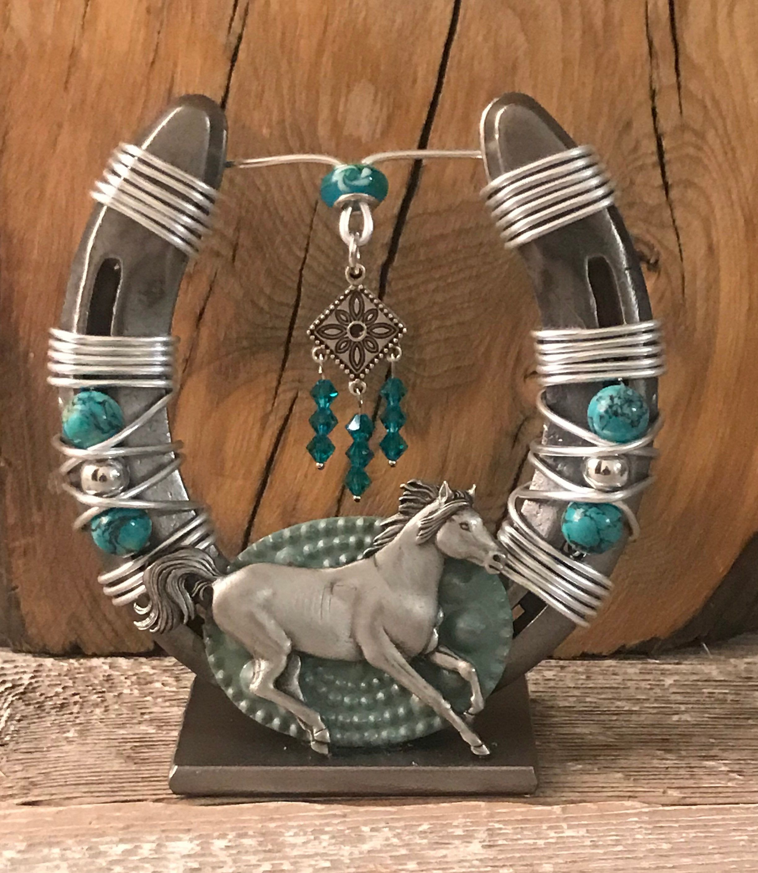Decorated lucky horseshoe art horse lover gift native