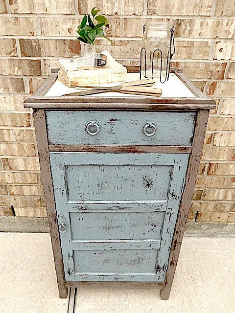 Antique Wooden Jelly Cupboard Kitchen Cabinet Upcycled Record Storage Repurpose