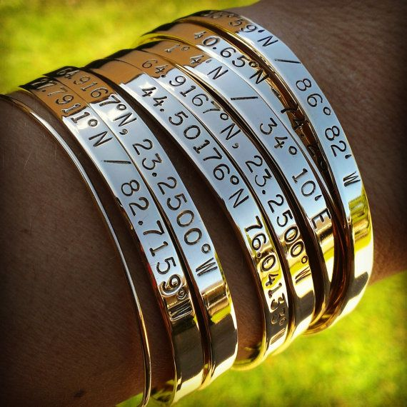 Engraved Coordinates Location Cuff Latitude and Longitude Jewelry