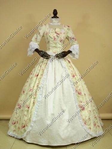 Renaissance Colonial Vintage Dress Fairytale Floral Theater Gown ...