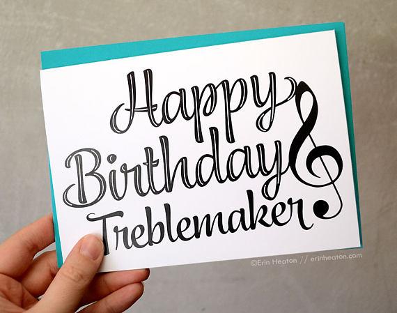 Happy Birthday Treblemaker Card Musician Treble Clef Music Birthda