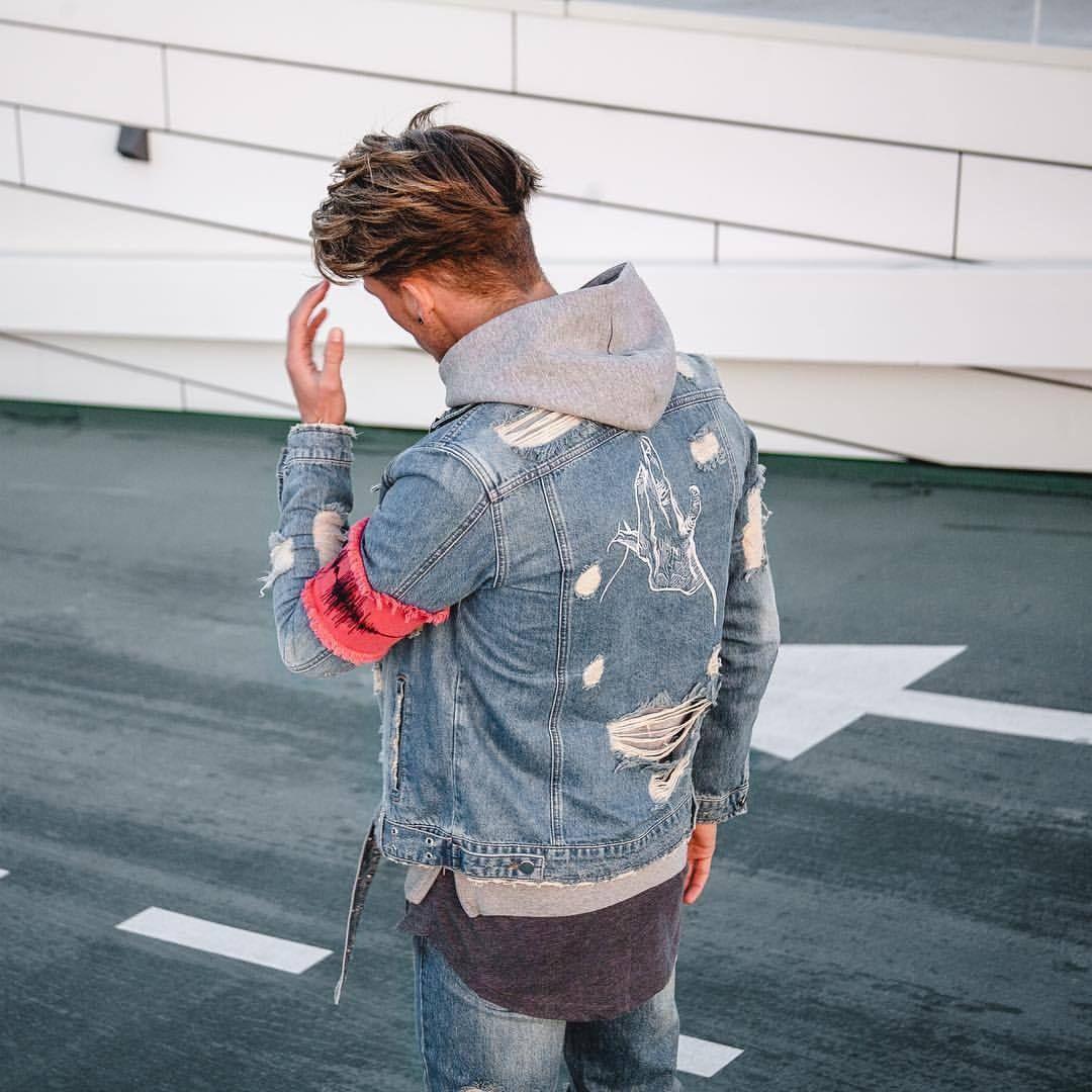 abeef033cbc Streetwear denim jacket    Zoetic    street style distressed jean jacket     The