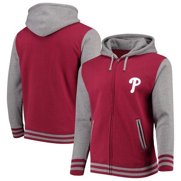 f0ec32dfc Philadelphia Phillies Majestic Iconic Full-Zip Hoodie - Red/Gray in ...
