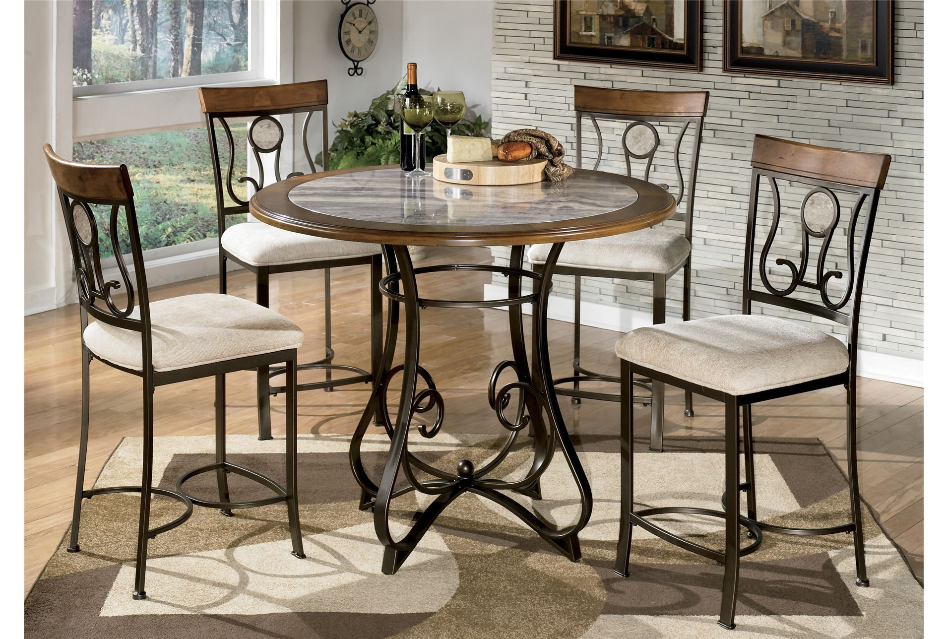 Living Spaces Hopstand 5 Piece Counter Set   Round dining ...