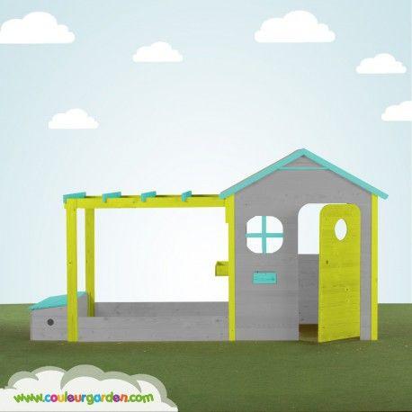 Une maison de jardin qui va ravir votre enfant multifonction avec - Maisonnette En Bois Avec Bac A Sable