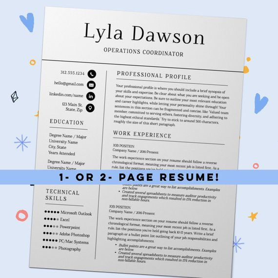Resume Template with Cover Letter and References Page, Two Page
