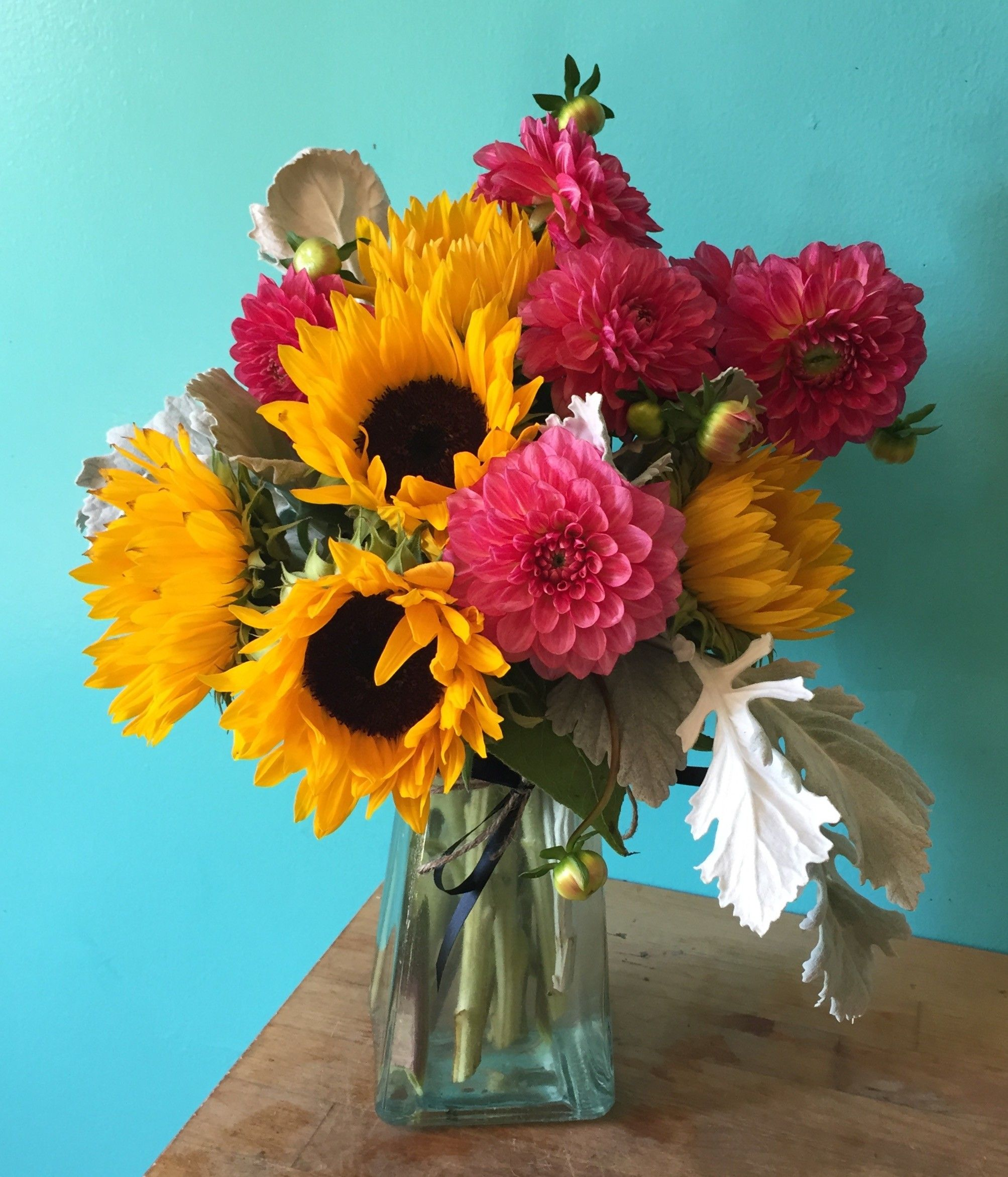 Good Day Sunshine By The Plum Dahlia Paper Sunflowers Floral Vase Sunflower Flower