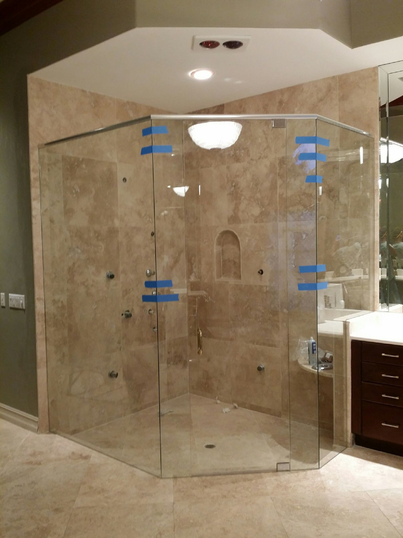 Almost Finished Neo Angle Frameless Shower