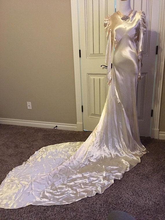 Delicious 1930s Silk Satin Wedding Gown Wedding Gowns Wedding