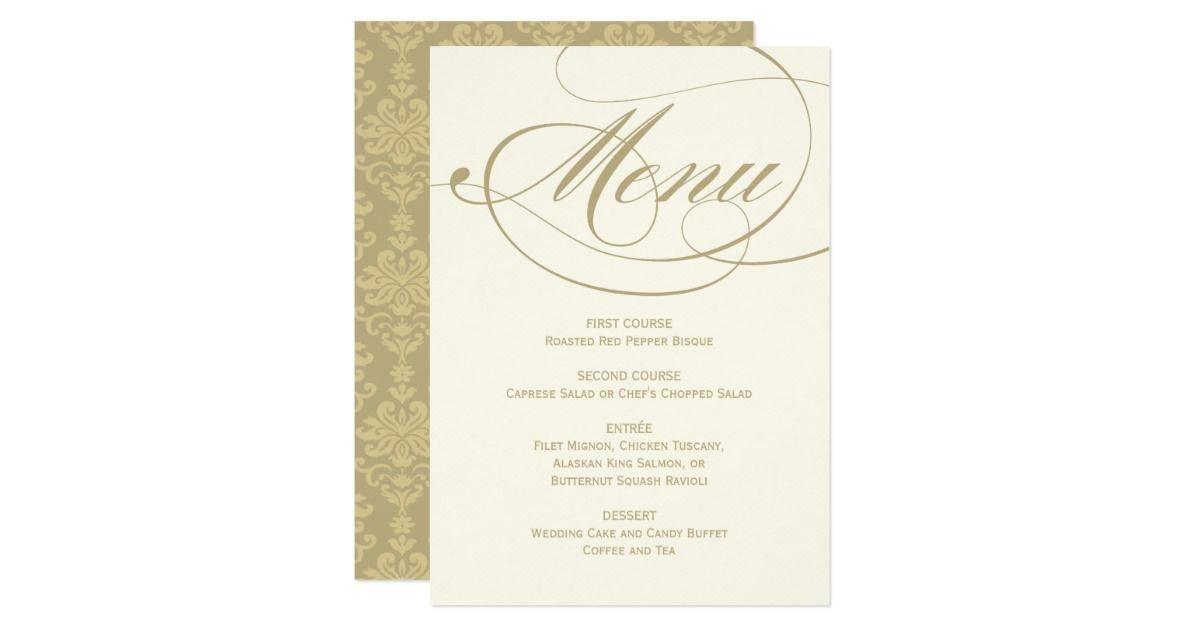 Wedding dinner menu card gold calligraphy design simple wedding wedding dinner menu card gold calligraphy design simple wedding invitations stopboris Choice Image