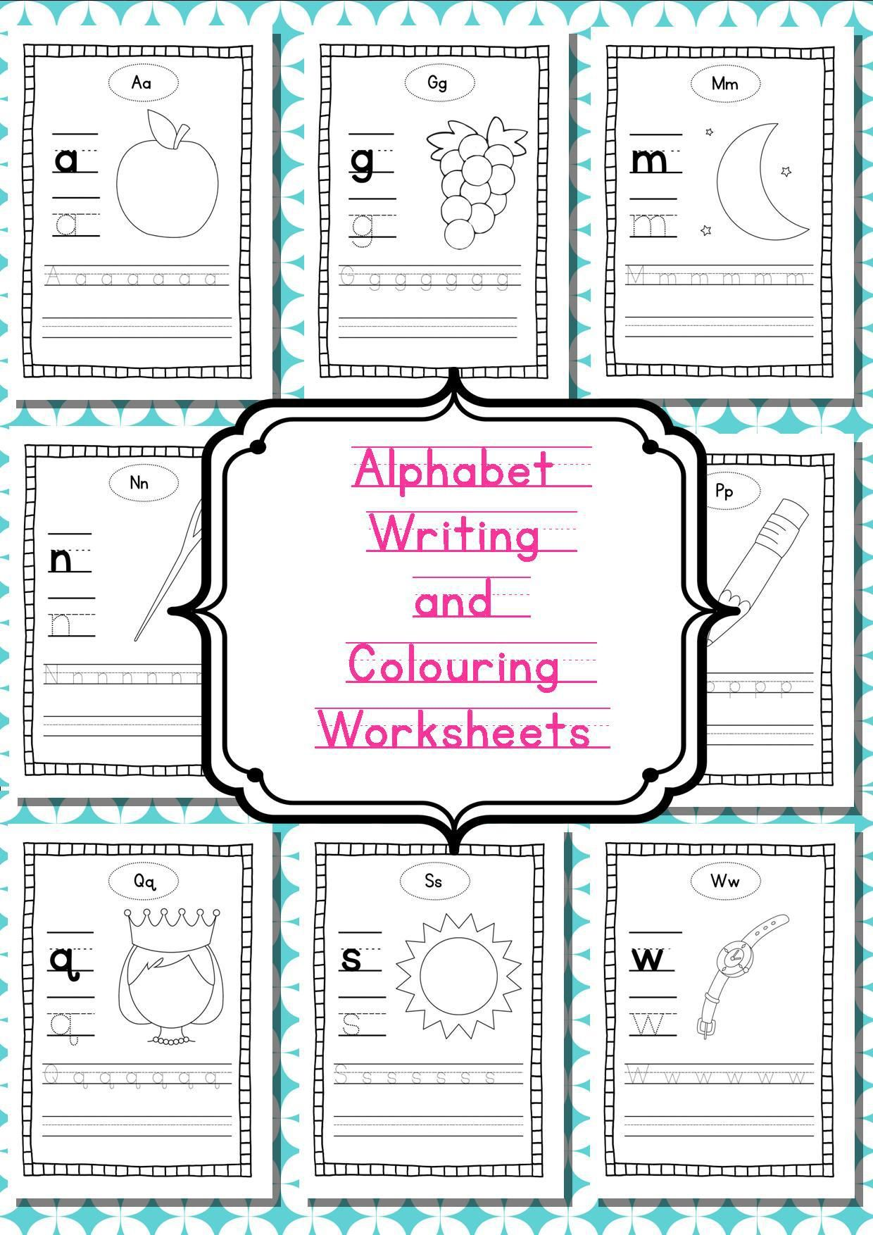 Alphabet Writing and Colouring Worksheets (Independent) | Alphabet ...