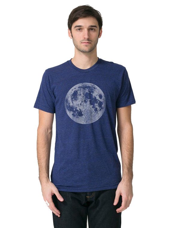Mens Full Moon Shirt, Blue Full Moon t Shirt, Mens Moon tee, Space Graphic Tee, Astronomy t shirts, mens galaxy space t shirts blue moon tee