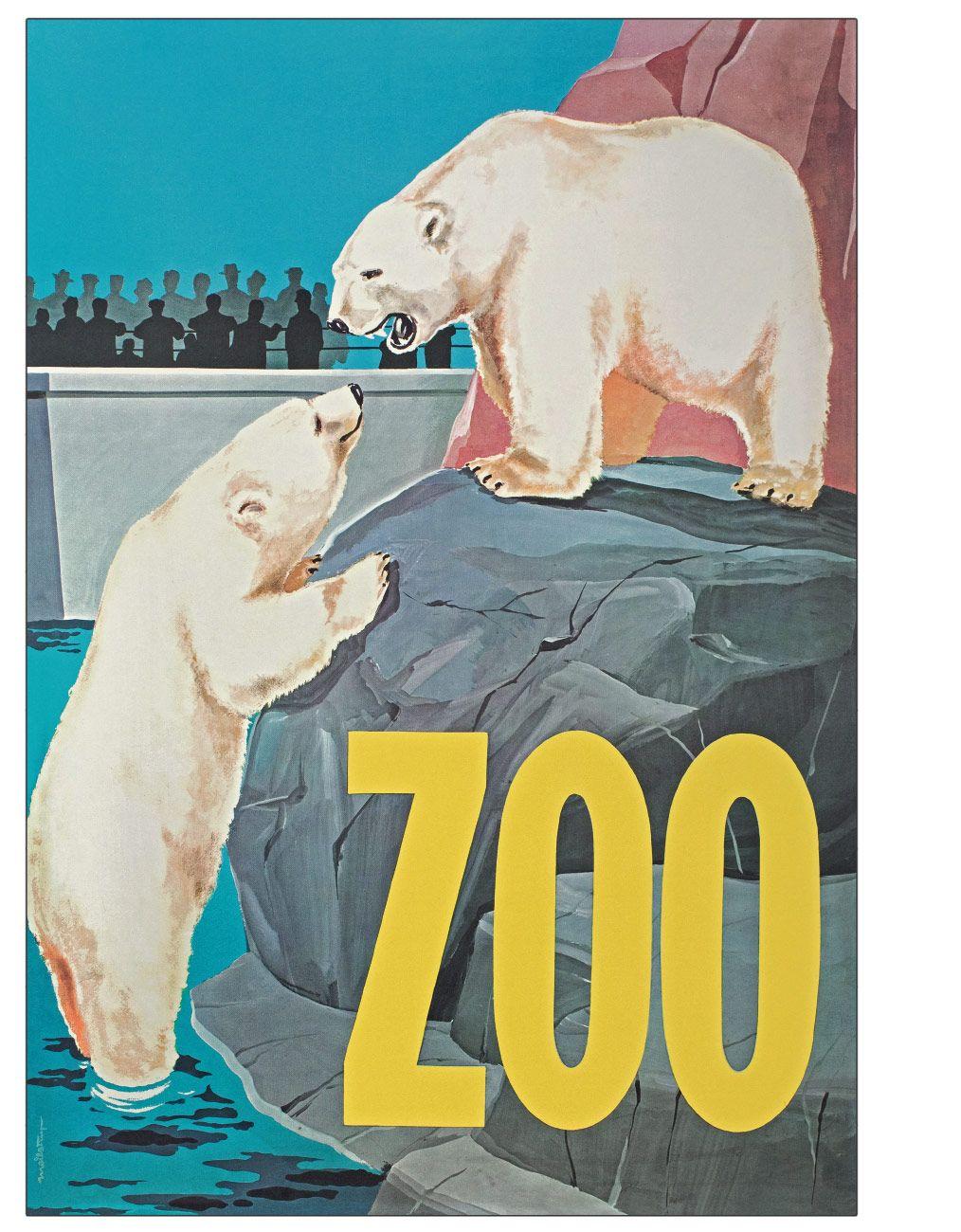 Zoo Plakat Med Isbjorn Vintage Plakater Isbjorn Plakater