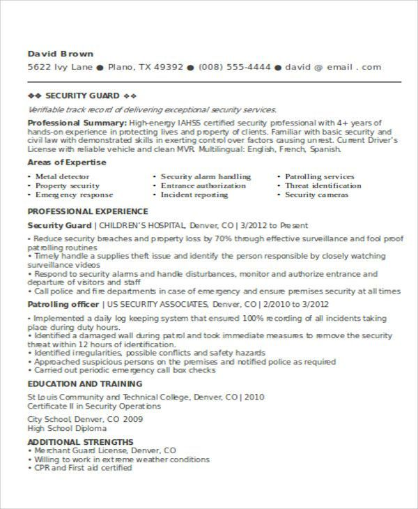 Security Guard Resume Templates 12+ Free Word  PDF resume