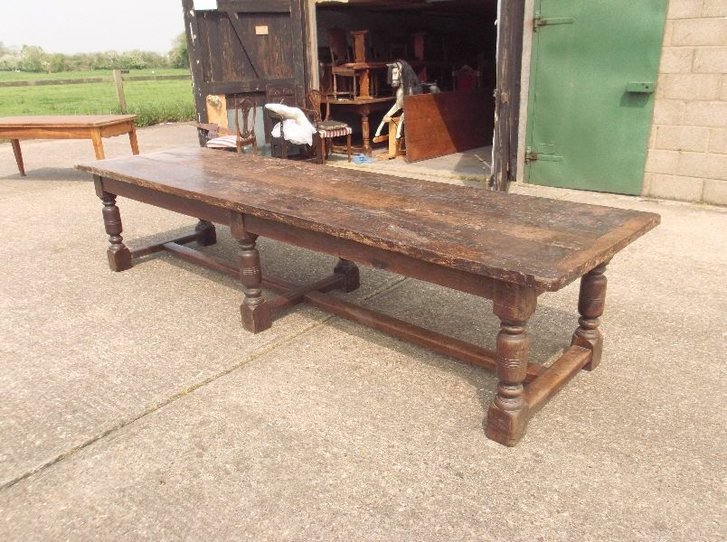 large antique dining table 12ft charles ii period 17th century oak refectory table - Antique Dining Table